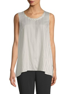 Brunello Cucinelli Striped Silk High-Low Top