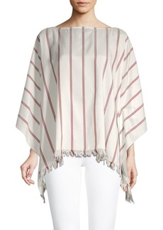 Brunello Cucinelli Striped Silk Poncho Top