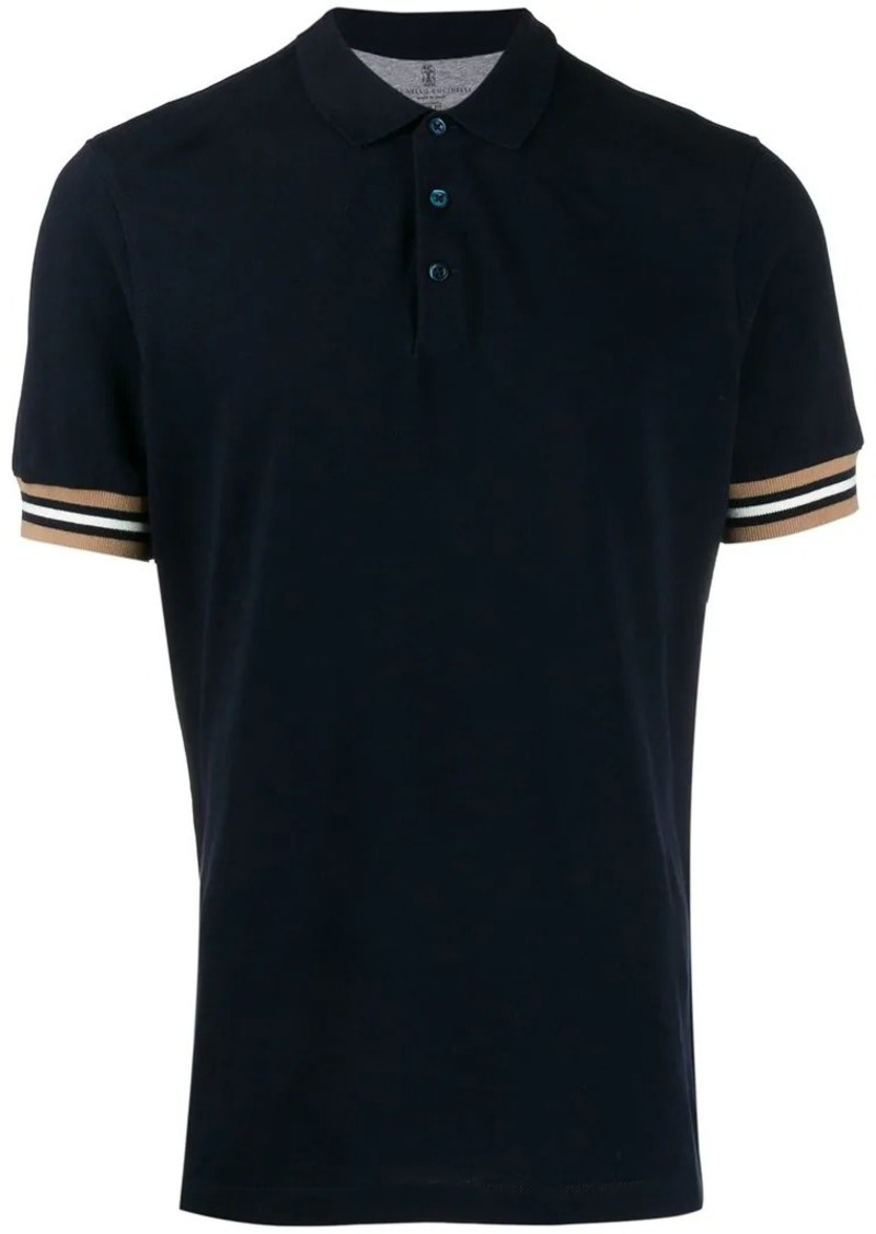 Brunello Cucinelli striped trim polo shirt