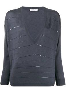 Brunello Cucinelli striped V neck jumper