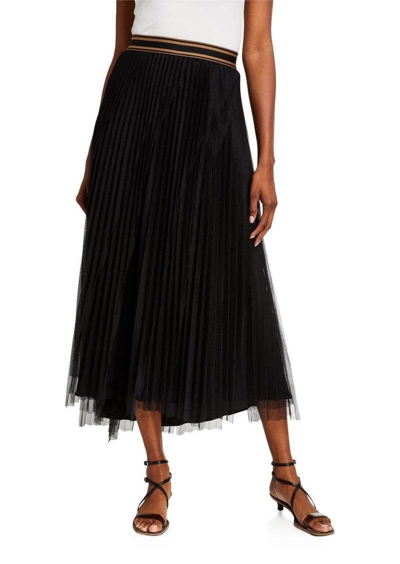 Brunello Cucinelli Striped Waist Tulle Skirt