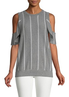 Brunello Cucinelli Striped Wool, Cashmere & Silk Cold-Shoulder Top