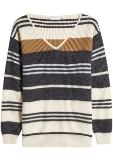 Brunello Cucinelli Striped Wool, Cashmere and Silk Pullover