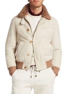 Brunello Cucinelli Suede & Shearling Pilot Jacket