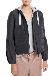 Brunello Cucinelli Taffeta Puffer Jacket w/ Balloon Sleeves