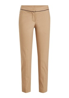 Brunello Cucinelli Tapered Cotton Pants with Embellishment