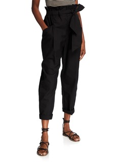 Brunello Cucinelli Techno Poplin High-Rise Pants