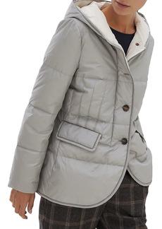 Brunello Cucinelli Techno Taffeta Insulated Monili-Trim Hooded Jacket