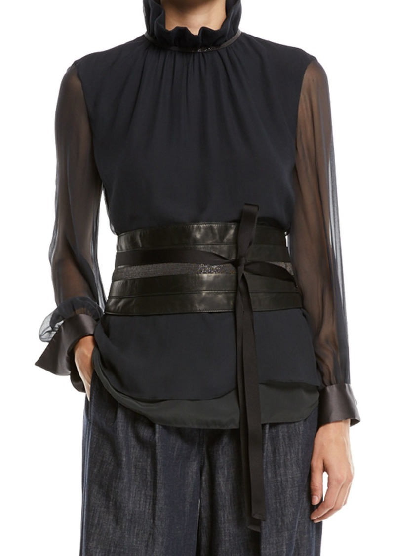 Brunello Cucinelli Tie-Front Leather Corset Belt w/ Monili Trim