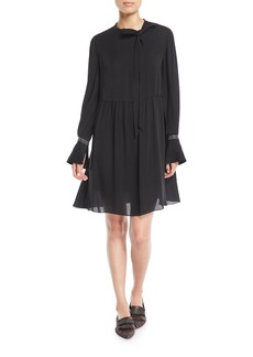 Brunello Cucinelli Tie-Neck Monili-Cuff Silk Babydoll Dress