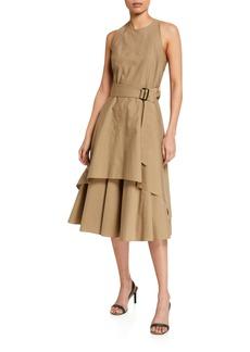 Brunello Cucinelli Tiered Crinkled Cotton Dress