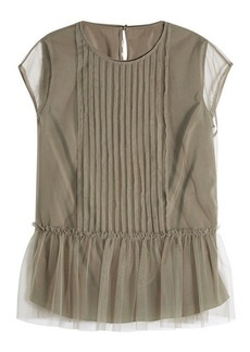 Brunello Cucinelli Top with Chiffon Overlay