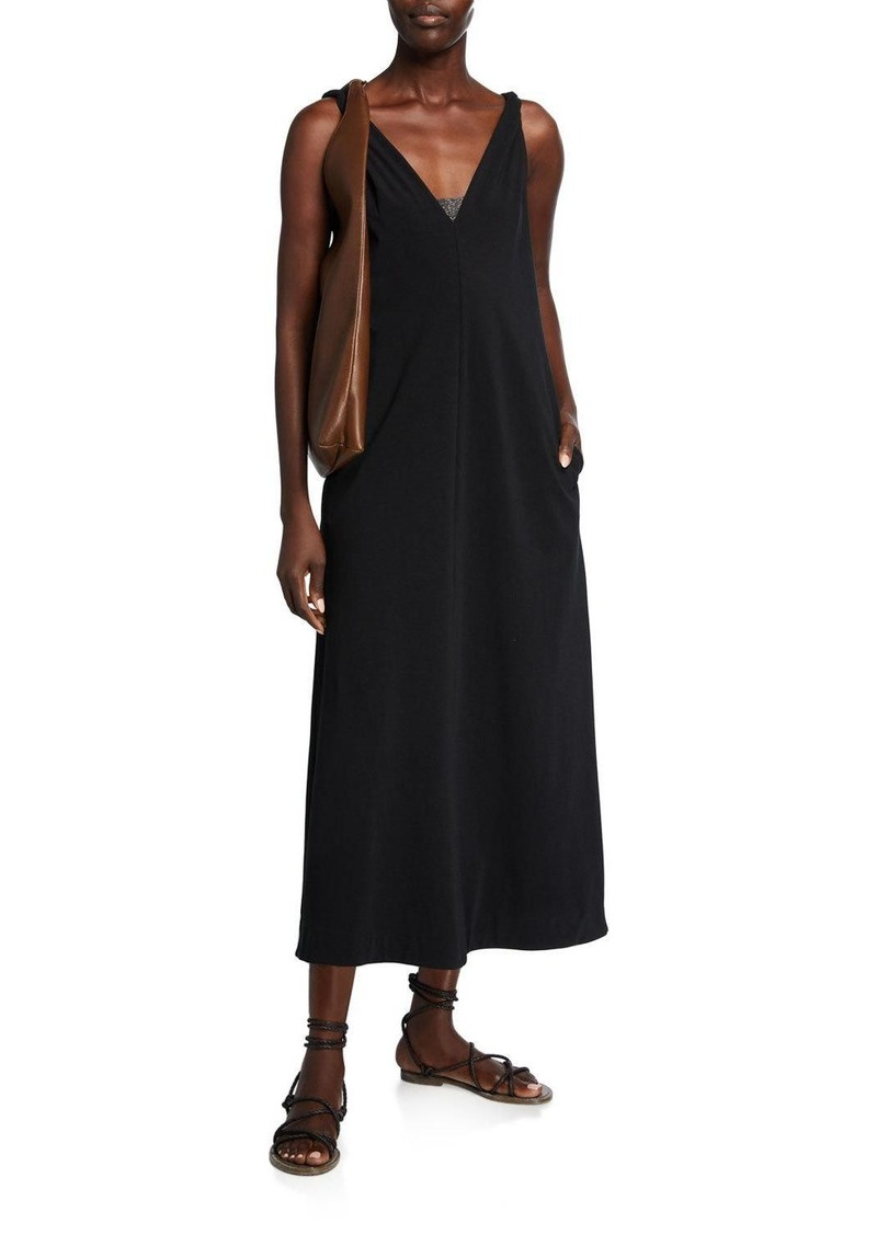 Brunello Cucinelli Twisted Cotton Jersey V-Neck Dress