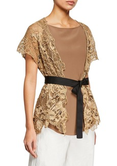 Brunello Cucinelli Two-Piece Floral Embroidered Wrap Top with Silk Tank