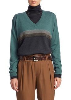 Brunello Cucinelli Two-Ply Cashmere V-Neck Colorblock Sweater
