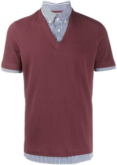 Brunello Cucinelli two tone polo shirt