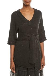 Brunello Cucinelli V-Neck 3/4-Sleeve Paillette Cashmere-Silk Sweater w/ Wrap Belt