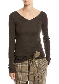 Brunello Cucinelli V-Neck Long-Sleeve Wool Jersey Sweater w/ Monili Trim