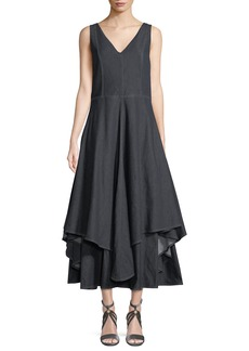 Brunello Cucinelli V-Neck Sleeveless Flounce-Hem Denim Dress w/ Contrast Stitching