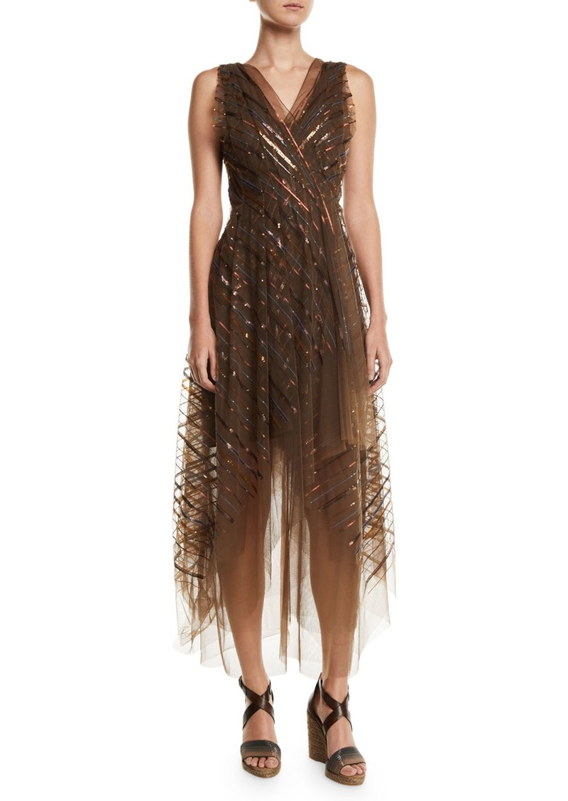 Brunello Cucinelli V-Neck Striped-Sequin Tulle Midi Dress w/ Asymmetric Hem