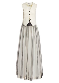 Brunello Cucinelli Vested Silk Tulle Evening Dress
