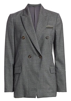 Brunello Cucinelli Virgin Wool Houndstooth Double Breasted Jacket