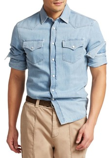 Brunello Cucinelli Western Chambray Denim Button-Down Shirt