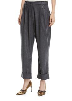 Brunello Cucinelli Wide-Leg Metallic Donnegal Pants w/ Pleats