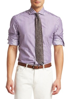 Brunello Cucinelli Wide Stripe Cotton Sport Shirt