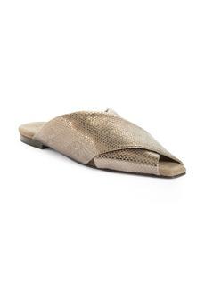 Women's Brunello Cucinelli Metallic Snake Embossed Slide Sandal