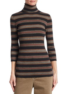 Brunello Cucinelli Wool and Cashmere Striped Turtleneck