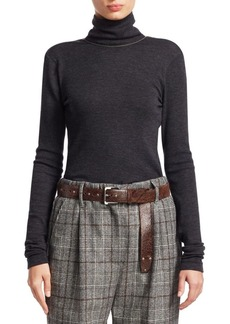 Brunello Cucinelli Wool Jersey Open-Back Turtleneck Top
