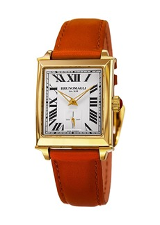 Bruno Magli 27mm Valentina Rectangular Watch  Orange/Gold