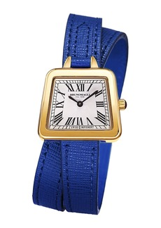 Bruno Magli 28mm Emma Trapezoid Double-Wrap Watch  Blue/Gold
