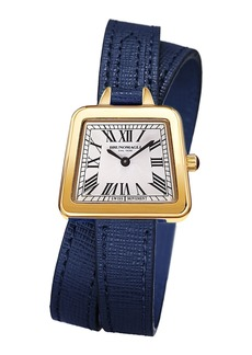 Bruno Magli 28mm Emma Trapezoid Double-Wrap Watch  Navy/Gold