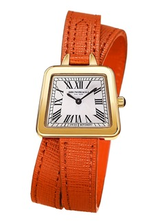 Bruno Magli 28mm Emma Trapezoid Double-Wrap Watch  Orange/Gold