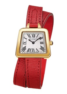 Bruno Magli 28mm Emma Trapezoid Double-Wrap Watch  Red/Gold