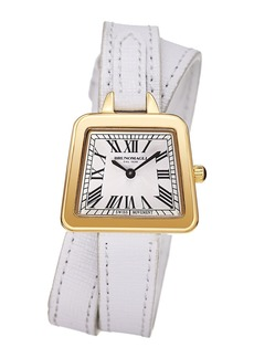 Bruno Magli 28mm Emma Trapezoid Double-Wrap Watch  White/Gold
