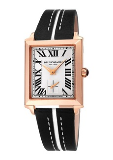 Bruno Magli 28mm Valentina Rectangular 14k Rose Gold Watch  Black/White