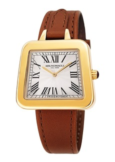 Bruno Magli 34mm Emma 1142 Trapezoid Leather Watch  Brown/Gold
