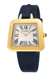 Bruno Magli 34mm Emma 1142 Trapezoid Leather Watch  Navy/Gold