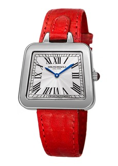 Bruno Magli 34mm Emma Trapezoid Watch w/ Red Strap