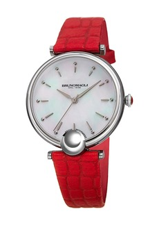Bruno Magli 34mm Miranda Crocodile Watch  Red/Silver