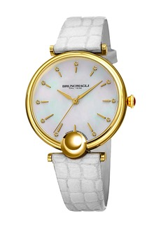 Bruno Magli 34mm Miranda Crocodile Watch  White/Gold