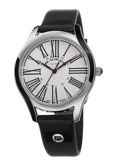 Bruno Magli 36mm Alessia Enamel Watch w/ Patent Leather  Black/Silver