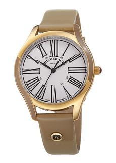 Bruno Magli 36mm Alessia Enamel Watch w/ Patent Leather  Gray/Gold
