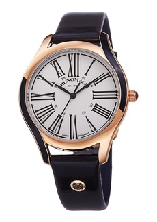 Bruno Magli 36mm Alessia Enamel Watch w/ Patent Leather  Navy/Gold