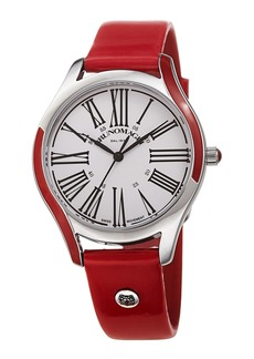 Bruno Magli 36mm Alessia Enamel Watch w/ Patent Leather  Red/Silver