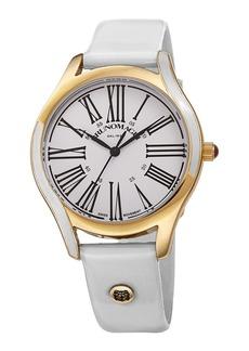 Bruno Magli 36mm Alessia Enamel Watch w/ Patent Leather  White/Gold