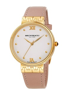Bruno Magli 36mm Isabella Leather Watch  Pink/Gold